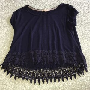 Dark Blue T-shirt with Lace Trim
